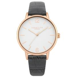 Identity London Ladies Grey Croc Faux Leather Strap Watch