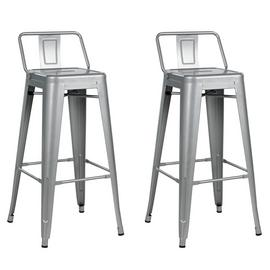 Argos Home Industrial Pair of Metal Bar Stools - Matt Silver