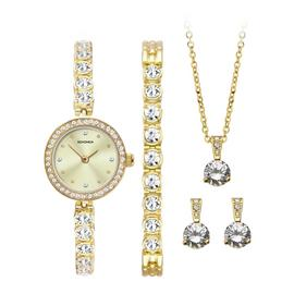 Sekonda Gold Watch, Bracelet, Necklace and Earrings Gift Set