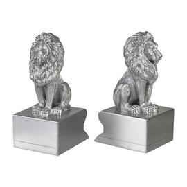 Habitat Living Luxe Lion Bookends - Silver