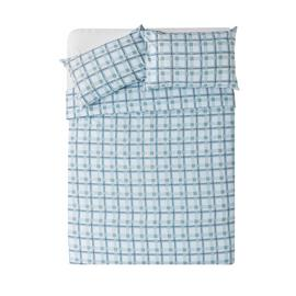 Argos Home Light Blue Check Bedding Set - Kingsize