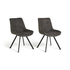Argos Home Tribeca Pair of Microfibre Dining Chairs - Black