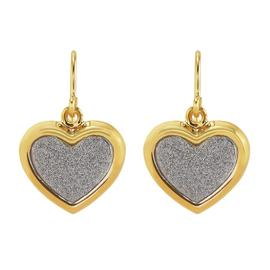 Revere 9ct Gold Plated Silver Glitter Heart Drop Earrings