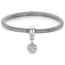 Buckley London Heart Silver Colour Charm Mesh Bracelet