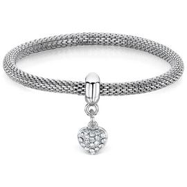 Buckley London Heart Silver Colour Charm Mesh Bracelet