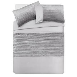 Argos Home Sparkle Silver Velvet Bedding Set - Double