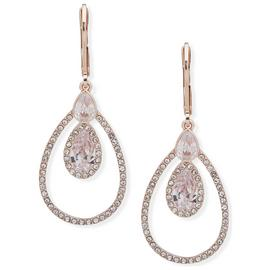Anne Klein Rose Gold Plated Cubic Zirconia Drop Earrings