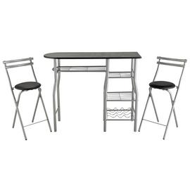Argos Home Leon Wood Effect Bar Table & 2 Stools - Black