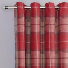 Argos Home Traditional Brushed Check Lined Eyelet Cutains