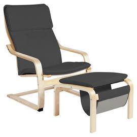 Habitat Bentwood High Back Chair & Footstool - Grey