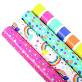 4 Piece Rainbow Design Gift Wrapping Paper Set - 3m