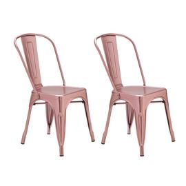 Argos Home Industrial Pair of Metal Dining Chairs - Pink