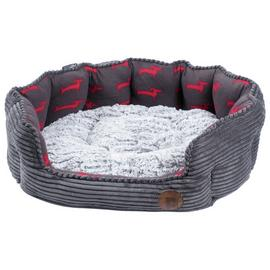 Petface Grey Bamboo & Jumbo Cord Deli Dog Bed - Large