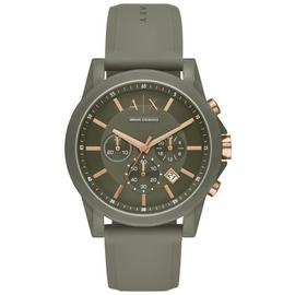Armani Exchange Men's Green Silicone Strap Watch