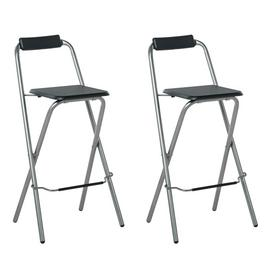Argos Home Pair of Folding Metal Bar Stools - Black & Silver