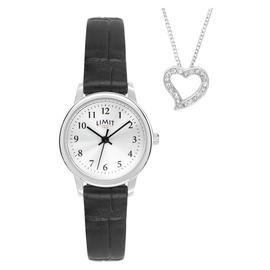 Limit Ladies Black Faux Leather Strap Watch & Heart Pendant