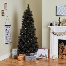 Argos Home 6ft Pre Lit Cashmere Christmas Tree - Black