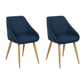 Argos Home Skandi Pair of Fabric Dining Chairs - Blue