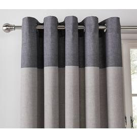 Argos Home Printed Header Lined Eyelet Curtains