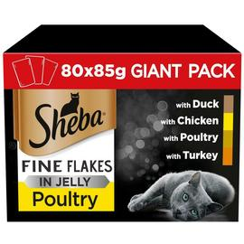 Sheba Fine Flakes Cat Food Poultry in Jelly 80 Pouches