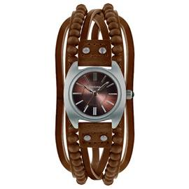 Kahuna Ladies' Brown Bead Multi Thong Watch