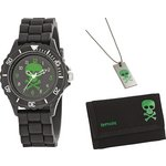more details on Tikkers Boys' Black Skull Watch Set.