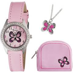Tikkers Girls' Pink Butterfly Watch Set