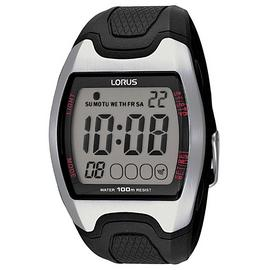 Lorus Men's Black Resin Strap Digital Sports Watch