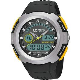 Lorus Men's Black Resin Strap Dual Time Watch