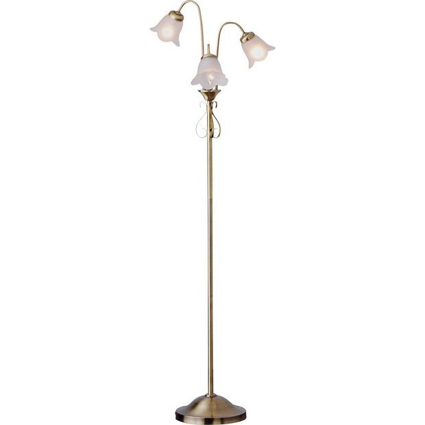 Buy home elise floor lamp antique brass at argoscouk for Argos wood floor lamp