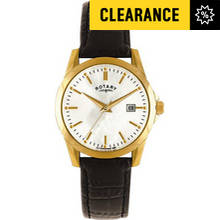 Rotary Ladies' Classic Gold Plated Black Strap Watch