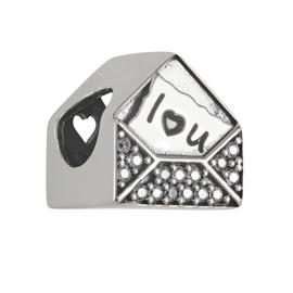 Moon & Back Sterling Silver Cubic Zirconia 'I Love U' Charm