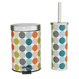 Argos Home Bin and Toilet Brush Set - Spots