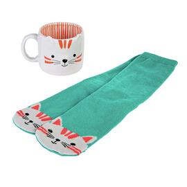 Part of the Family Cat Shaped Mug with Socks Set