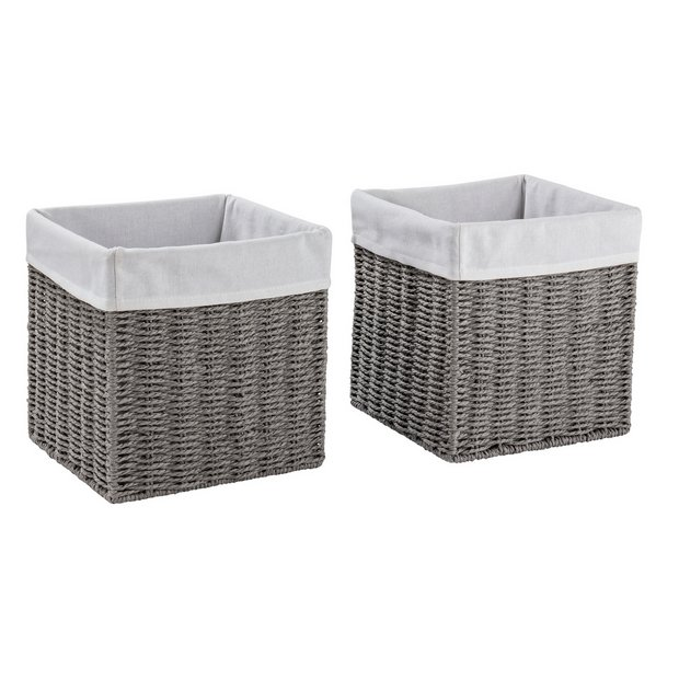 Buy Argos Home Set Of 2 Rope Storage Baskets Grey Decorative Boxes And Baskets Argos