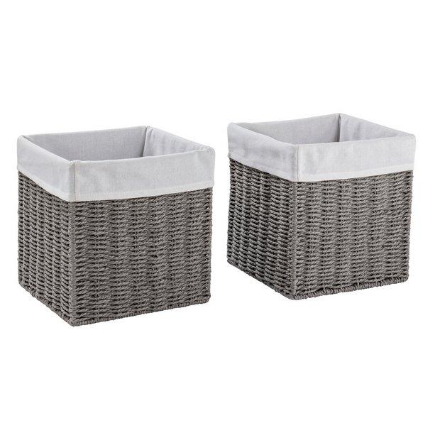 Buy Argos Home Set Of 2 Rope Storage Baskets Grey Decorative Boxes And Baskets Argos