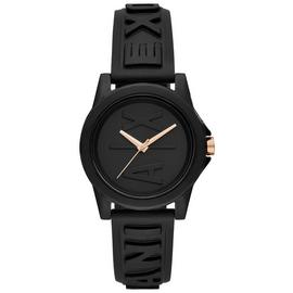 Armani Exchange Ladies Black Silicone Strap Watch