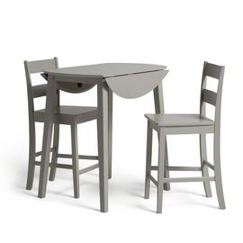 Argos Home Chicago Extending Bar Table & 2 Stools - Grey