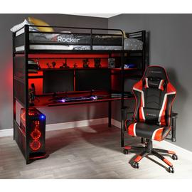X Rocker Battle Bunk Gaming Bed with XL Gaming Desk - Black