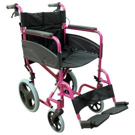 Aidapt Deluxe Transport Aluminium Pink Wheelchair