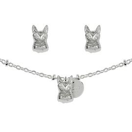Radley Silver Plated 3D Dog Charm Necklace/Stud Earring Set