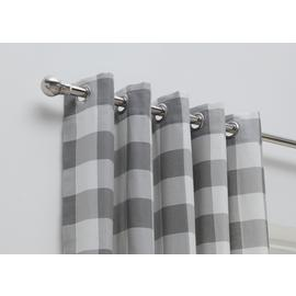 Habitat Printed Check Fully Lined Eyelet Curtains
