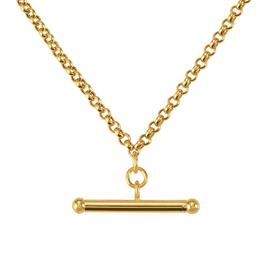 Revere 9ct Yellow Gold Belcher T-Bar Necklace