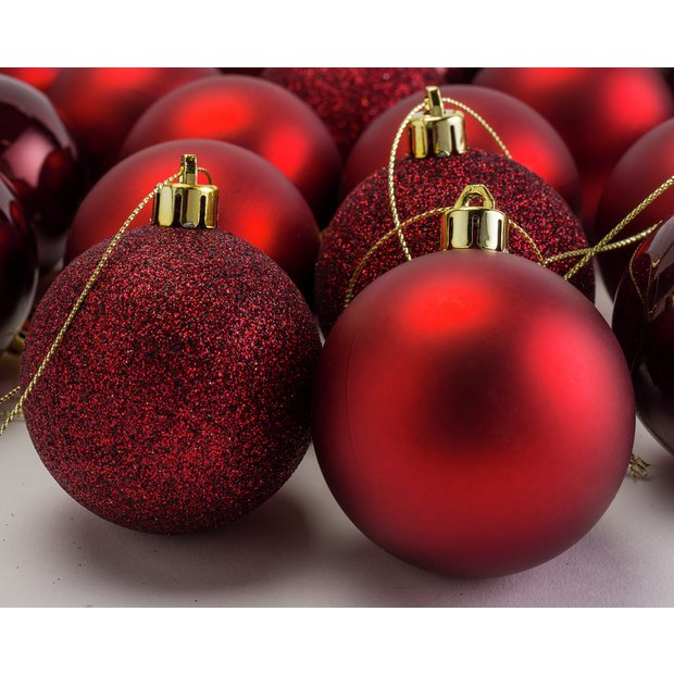 Christmas Baubles.Buy Argos Home 48 Pack Of Berry Christmas Baubles Red Christmas Tree Decorations Argos