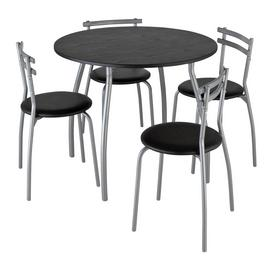 Argos Home Leon Black Dining Table & 4 Black Chairs