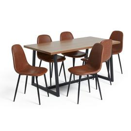 Argos Home Nomad Oak Dining Table and 6 Beni Tan Chairs