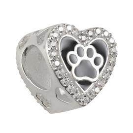 Moon & Back Sterling Silver Cubic Zirconia Animal Paw Charm