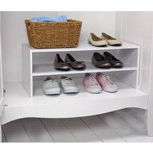 HOME 2 Shelf Internal Wardrobe Shoe Storage Rack - White