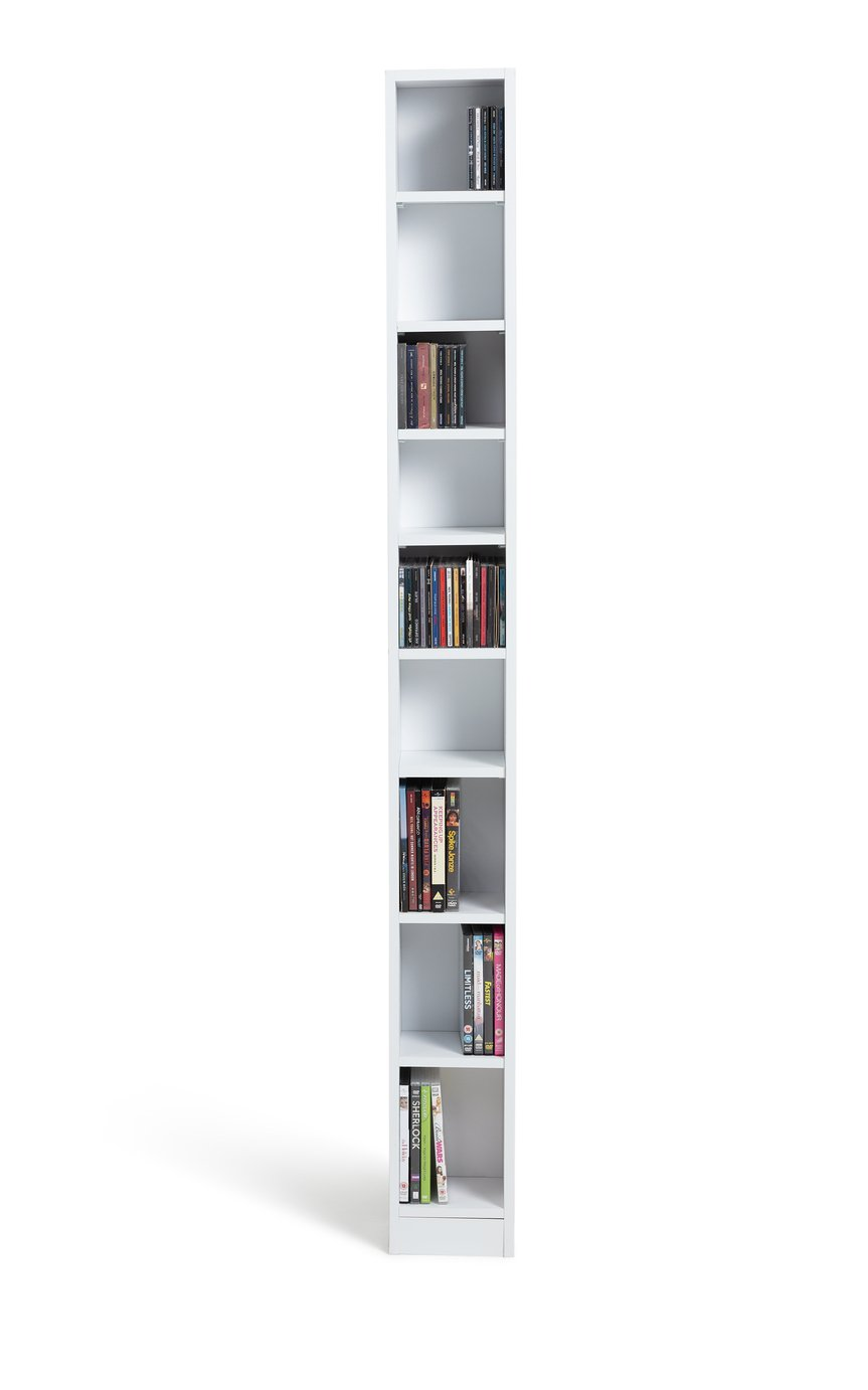 HOME Maine Tall CD And DVD Media Storage Tower   White