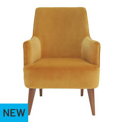 Argos Home Molly Velvet Accent Chair - Ochre